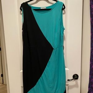 Color block teal and black dress